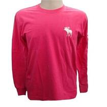 Camiseta Manga Longa Abercrombie Rosa Esc Original