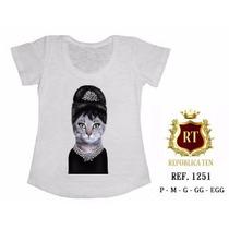 T-shirt Camiseta Personalizada Feminina Gata Audrey