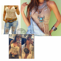 Top Cropped Croche frente Bojo Lindo Franjas Pronta Entrega
