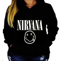 Blusa Moletom Nirvana Unissex Bolso Capuz Banda Camisa Rock