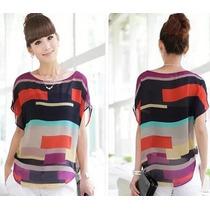 Blusa Color Chiffon Listrada Transparente - Pronta Entrega