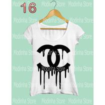 Tshirt Feminina Blusa Estampa Chanel Marca Moda 2016 Look