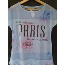 Blusa Paris - Malha Sublimada Com Detalhe Em Tela Nos Ombros
