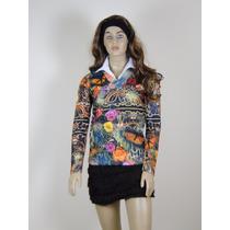 Blusa Camisa Feminina Malhas Estampada Floral Barato