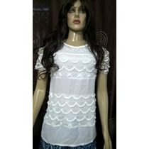 Promoção Blusa Branca Em Crepe De Seda,renda E Pedras
