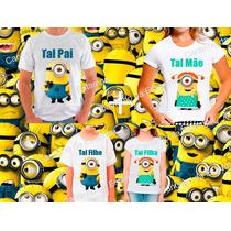 Kit 4 Camisetas Minions Tal Mãe Tal Filha Tal Pai Tal Filho