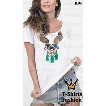 Camiseta T-shirt Colar Fashion Feminino Blusa Baby Look