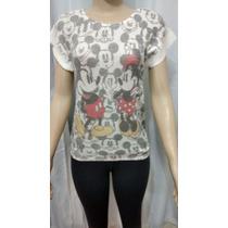Blusa Regata Feminina De Tricot Cardigã Mickey/minnie