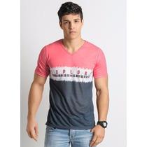 Camiseta Masculino Decote V Rosa E Azul - Roupa P M G Gg