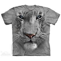 Camisa 3d White Tiger Face The Mountain Original