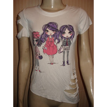 Camiseta C/ Estampa Bordada (miçangas ,paetes) Tam 12