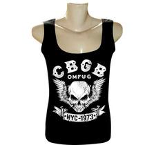 Camiseta Blusa Regata Feminina Rock Bandas Ramones Cbgb