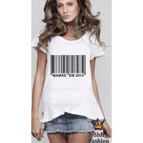 T-shirt Feminina Gestante Código De Barra Personalizada