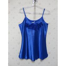 Blusa De Cetim Azul - Blusinha Feminina - Renda Azul
