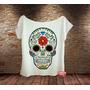 Blusa Gola Canoa Caveira Mexicana Dia De Los Muertos Flor