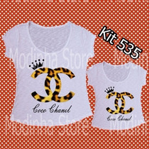 Kit Tshirt Feminina Tal Mãe Tal Filha Estampas Iguais Flamê