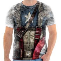Camisa, Camiseta Capitão America, Super Heroi - Mod 01