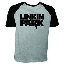 Camiseta Raglan Manga Curta Linkin Park Banda De Rock 2