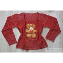 Blusa Tricot Frio Lã Urso Cardigan Inverno Feminina