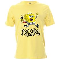 Camiseta Infantil Do Bob Esponja Personalizada Com Nome