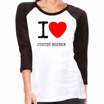 Camisa I Love Justin Bieber Camiseta Raglan 3/4