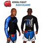 Camiseta Lycra Rash Guard Pro Comp Koral Azul Manga Longa
