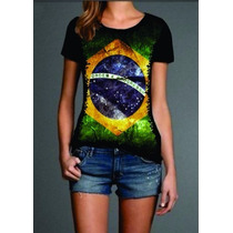 Camisa Feminina Bandeira Do Brasil Blusa Malha Fria Pv Preta