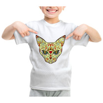 Camiseta Infantil Caveira Mexicana Gato Cat Felino 361
