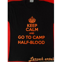 Camiseta Acampamento Meio Sangue Keep Calm Go Lana Camisetas