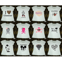 T-shirts Femininas Estampadas Em Malha Flamê