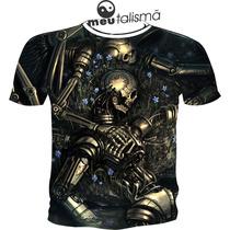 Camiseta Ou Baby Look Metal Robot Caveira Psicodélica