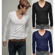 Blusa Masculina Manga Longa Comprida Camiseta Gola V Inverno