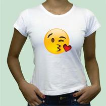 Camisa Babylook Emoticon Vergonha Amor Beijo Coracao Plt