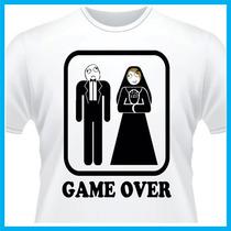 Camiseta Game Over, Memes, Engraçada, Sátira, Casamento