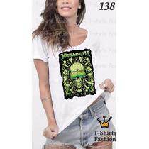 Camiseta T-shirt Megadeth Fashion Feminino Blusa Baby Look