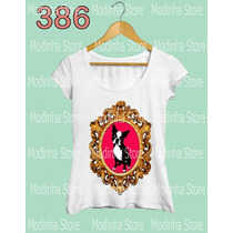 Camiseta Blusa Tshirt Feminina Estampa Cão Moldura Moda Look