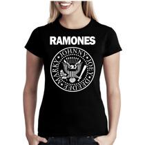 Camiseta Baby Look Feminina Bandas Rock Ramones