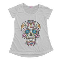 Blusinha T-shirt Feminina Caveira Mexicana Frete Grátis