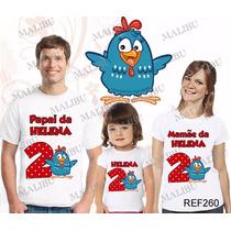 Lembrança De Aniversario Galinha Pintadinha Camiseta Com 3