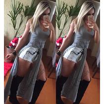 Blusa Feminina S/renda Nó Maxi Regata Vestido Nozinho Longo