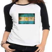 Camiseta Raglan Bandeira Argentina - Feminina