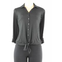 Style&co. Luva Dos Três Quartos Frente Tie Shirt Preto