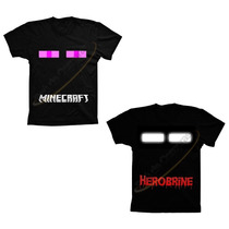 Camiseta Adulto Minecraft Herobrine Ou Enderman 100% Algodão