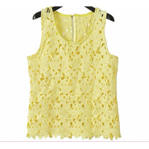 Blusa Colete Amarelo Com Padrão Floral Renda Regata Tam G