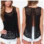 Blusa Camisa Detalhe Em Renda Pronta Entrega Moda 2015
