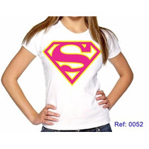 T-shirts Feminina Super Homem Rosa Camiseta Personalizada
