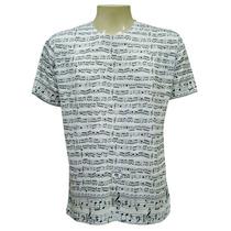 Camiseta Masculina Companhia Das Indias Notas Musicais