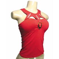 Blusa Camisa Feminina Vermelha Com Bojo Pronta Entrega Novo
