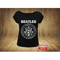 Camiseta The Beatles Feminina Ramones Sátira Love Apple Fun