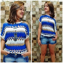 Blusa Blusinha Bata Cropped Top Renda Croche Saida De Praia